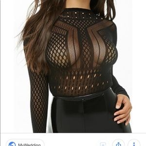 Hauty Open Back Cutout Nylon Bodysuit Black OSFM